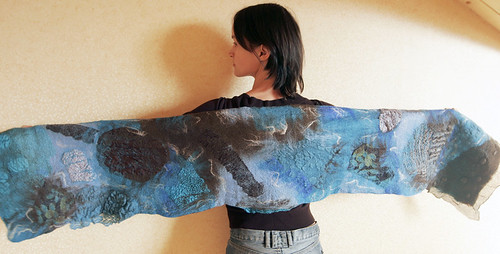 scarf, wool, felting, felted, nuno-felting, brown , blue, шарф, войлочный, нуно-войлок