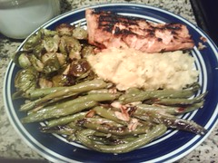 grilled salmon, roasted green beans and brussel sprouts & mashed acorn squash w/ blue cheese