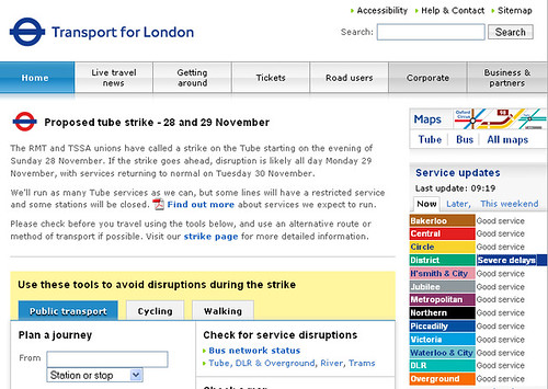 TfL home page taken over by strike