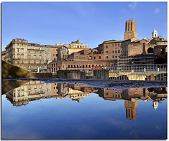 A big city in a big puddle (Nespyxel) Tags: city rome roma history reflections puddle riflessi pozza reflexes storia pozzanghera simmetrie simmetries nespyxel stefanoscarselli foritraianei