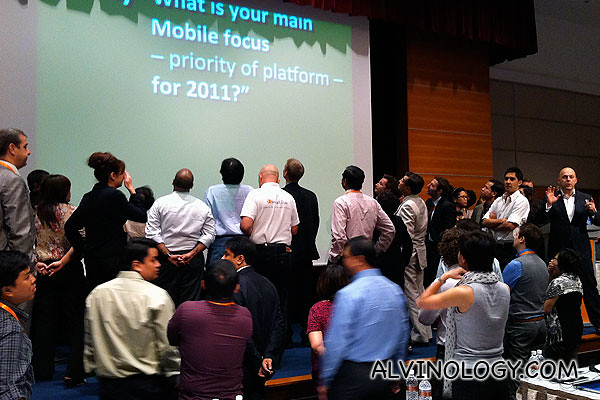 A little early morning moving around at the start of the second day conference on mobile Asia