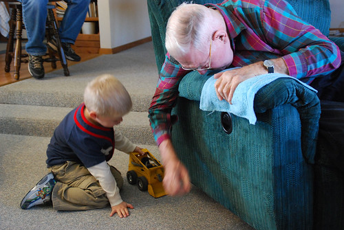 Playing with Great Grandpa