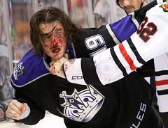 John Scott destroys Kevin Westgarth  11/27/2010 Blackhawks vs LA Kings (Michael Zampelli) Tags: