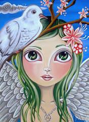 """Peace Angel"" Original Painting (Jaz Higgins) Tags: original white bird eye art girl angel fairytale painting print religious big artwork eyes whimsy artist peace princess girly dove surrealism jasmine australian surreal pop canvas fairy fantasy faery surrealist eyed jaz whimsical lowbrow fae greenhair newbrow"