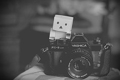 Danbo Loves Analogic (StellaDeLMattino) Tags: camera old bw stilllife white black vintage 50mm nikon funny bn nikkor f18 bianco yashica nero analogic artattack danbo fx3super d5000 homemadedanbo