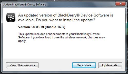 BlackBerry Device Software Update Versions 5.0.0.979