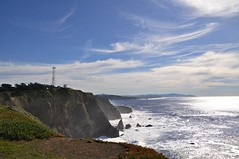 Brilliance of the Day (janetfo747) Tags: ocean california blue sky cliff lighthouse rocks day waves pacific cloudy military marin headlands bunkers pointbonitalighthouse doublyniceshot tripleniceshot mygearandme mygearandmepremium mygearandmebronze mygearandmesilver mygearandmegold mygearandmeplatinum mygearandmediamond