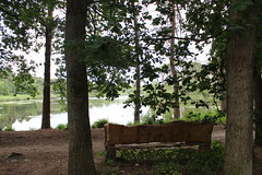 "A dreamy view over Lake ""Goorven"" (♥ Corry ♥) Tags: oisterwijk lake ven water trees bomen forest bos nature natuur bench bank landscape landschap green groen lente spring dutch netherlands nederland holland canon"