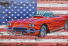 All American Beauty (Designs by Judy) Tags: vette vintage flag americanflag madeinamerica car sportscar vintagecar redcar fastcar red white blue redwhiteandblue stars stripes redstripes whitestripes whitestars