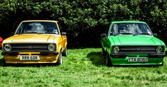 Colourful pair (DavidSteele31) Tags: ford escort markii yellow green wortley carshow