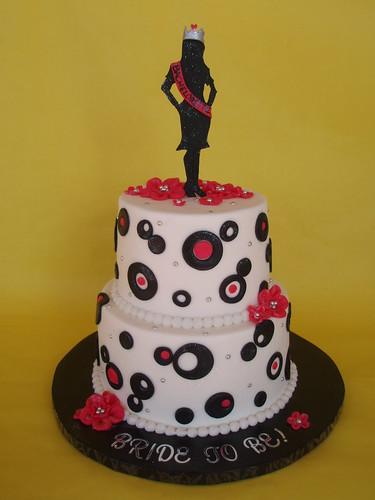 Retro Circles Bachelorette Cake