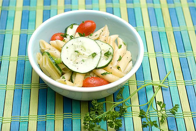 cucumber pasta salad for blog