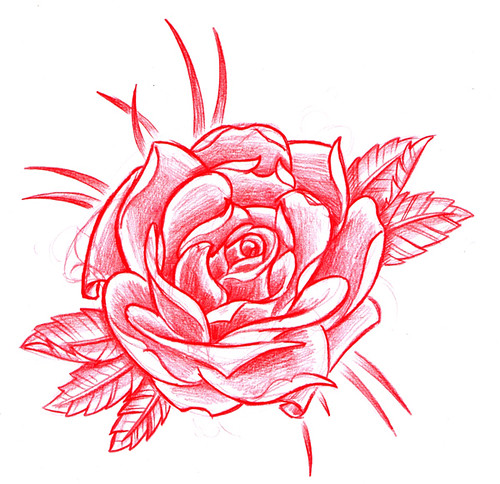 old school roses tattoo. Rose Old School. Tattoo flash