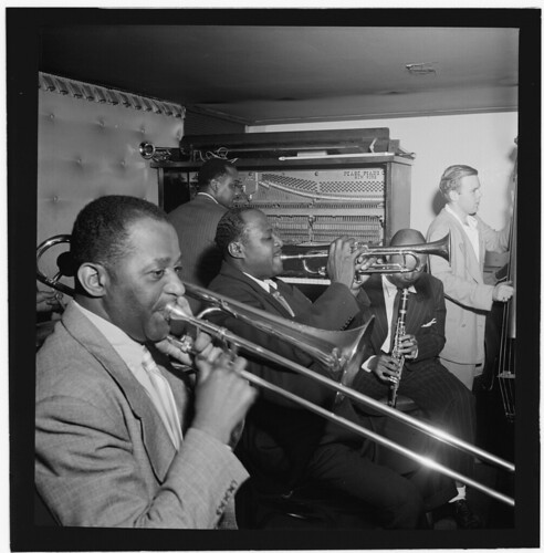 [Portrait of Wilbur De Paris, Sammy Price, Sidney De Paris, Eddie (Emmanuel) Barefield, and Charlie Traeger, Jimmy Ryan's (Club), New York, N.Y., ca. July 1947] (LOC)