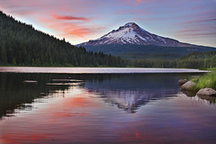Sunset at Trillium Lake with Mount Hood 2 - HDR (David Gn Photography) Tags: trees sunset sky mountain color reflection nature grass clouds landscape rocks dusk silhouettes wilderness mounthood hdr trilliumlake skislope 5xp canoneos7d sigma2470mmf28ifexdghsm sigma50th