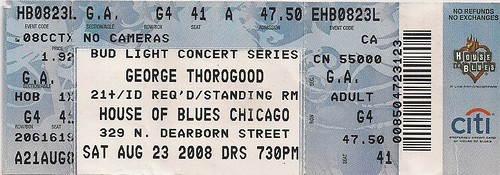 08/23/08 George Thorogood @ Chicago, IL (Ticket)