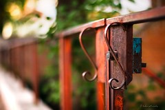 simply (helen sotiriadis) Tags: red orange canon fence handle gate dof bokeh lock perspective depthoffield canonef50mmf14usm canoneos40d