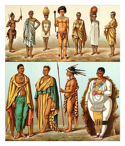022-Tribus Sudafricanas -Geschichte des kostüms in chronologischer entwicklung 1888- A. Racinet