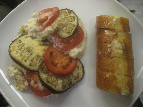 Eggplant ricotta and garlic bread