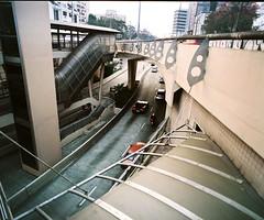 Porto Alegre (Felipe Neves) Tags: geometry corridor ferrari busstop concret portoalegrersbrasil pentax67ii6x7mediumformat120filmc41colourfujinph400