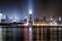 New York City (mudpig) Tags: city nyc newyorkcity longexposure mist ny newyork reflection fog skyline night geotagged newjersey neon cityscape dusk nj newyorker esb hudsonriver empirestatebuilding gothamist unioncity chryslerbuilding hdr hoboken newyorktimes newyorkerhotel unionhill onepennplaza mudpig stevekelley