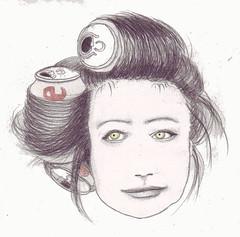 Coke Head (Harriet Quilty) Tags: yellow illustration hair tin sketch eyes head drawing telephone coke cocacola visualpun ladygaga ladygagahair