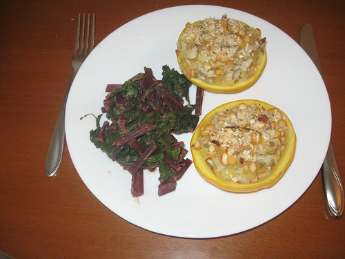 Stuffed Squash and Beet Greens