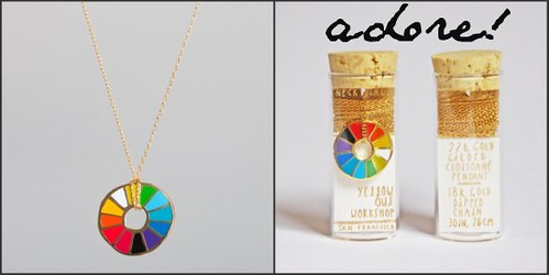 Yellow Owl Color Wheel Pendant