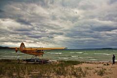 Lake Michigan Aircraft Topaz (hz536n/George Thomas) Tags: sky lake water yellow airplane lab waves michigan september canon5d seaplane 2010 smrgsbord labcolor cs5 topazadjust