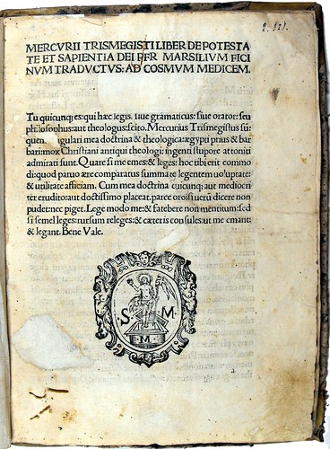 Page of text with woodcut book stamp from 'De potestate et sapientia Dei'. Sp Coll Ferguson An-y.19.