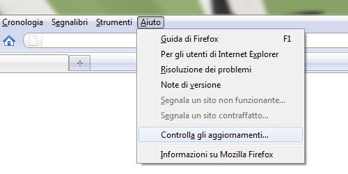 Figura 1 - Forzare Firefox a controllare la presenza di aggiornamenti su Windows