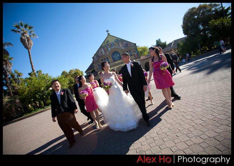 bridal party walk stanford palo alto