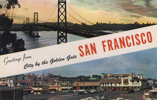 Greetings from City by the Golden Gate San Francisco vintage postcard