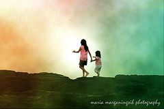 For light... i will go directly to the Source of light, not to any of the reflections. (Maaar) Tags: texture beach kids photoshop walking children artwork claudia bunga echobeach
