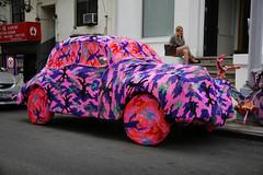 Olek - Knitted Car (NYC) (jamie nyc) Tags: nyc newyorkcity streetart yarn gothamist publicart avantgarde crocheting olek subversiveart agataolek photobyjimkiernan knittingisforpussies florescentart cutegirlsinsupershortskirtsoblivioustocoolart car1953morrisminor