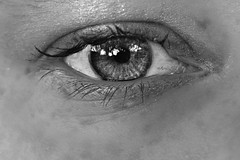 day 98 (speckled_beckle) Tags: blackandwhite eye me eyelashes day98 apieceofme 365days lr2 lrbw