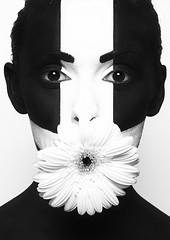 Peaceful silence (Hjalti Vignis) Tags: portrait bw white black flower cross