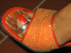 Orange nails in orange dirty mules (al_garcia) Tags: feet high shoes sandals dirty heels mules smelly toenails toerings