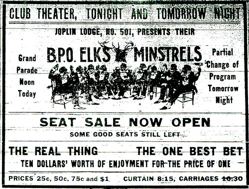 An advertisement for the Elks' Minstrel Show
