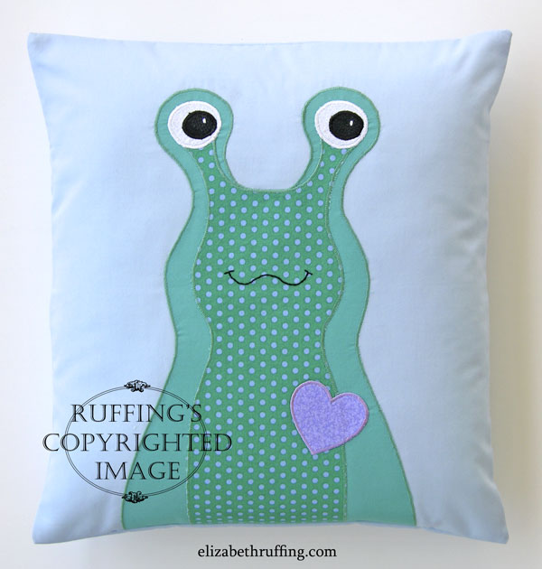 Hug Me Slug appliqued decorative throw pillow by Elizabeth Ruffing