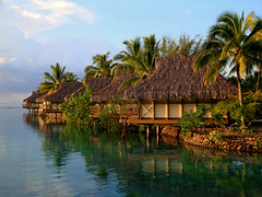 Moorea Overwater Bungalows (krmall) Tags: travel sunset reflection water paradise honeymoon day view balcony resort clear palmtree tropical intercontinental moorea bungalows frenchpolynesia overwater overwaterbungalows regionwide