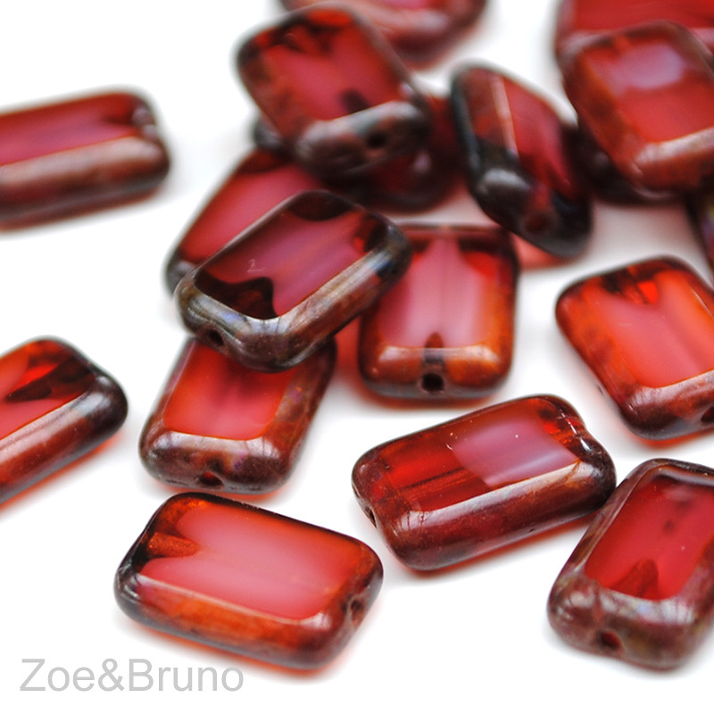 Fuschia Pearl - Picasso Czech Glass Polished Rectangles