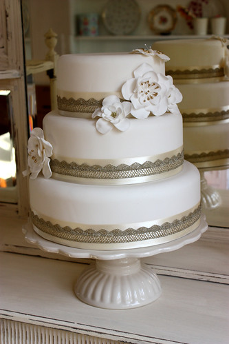Cream Gold Lace Wedding Cake by ConsumedbyCake