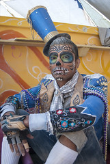 An amazing style (Chicago_Tim) Tags: city blue man black cute guy art hat festival rock costume desert nevada makeup burningman blackrockcity burning metropolis 2010