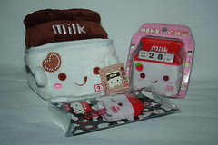 Milk (Verokitschy) Tags: money cute smile smiling bag milk coin strawberry key calendar chocolate bank cap cover pouch kawaii carton milkcarton janetstore