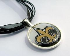 Gold Fleur de lis pendant necklace (msjcreations) Tags: girls white black gold women neworleans saints jewelry fleurdelis etsy ribbonnecklace roundpendant