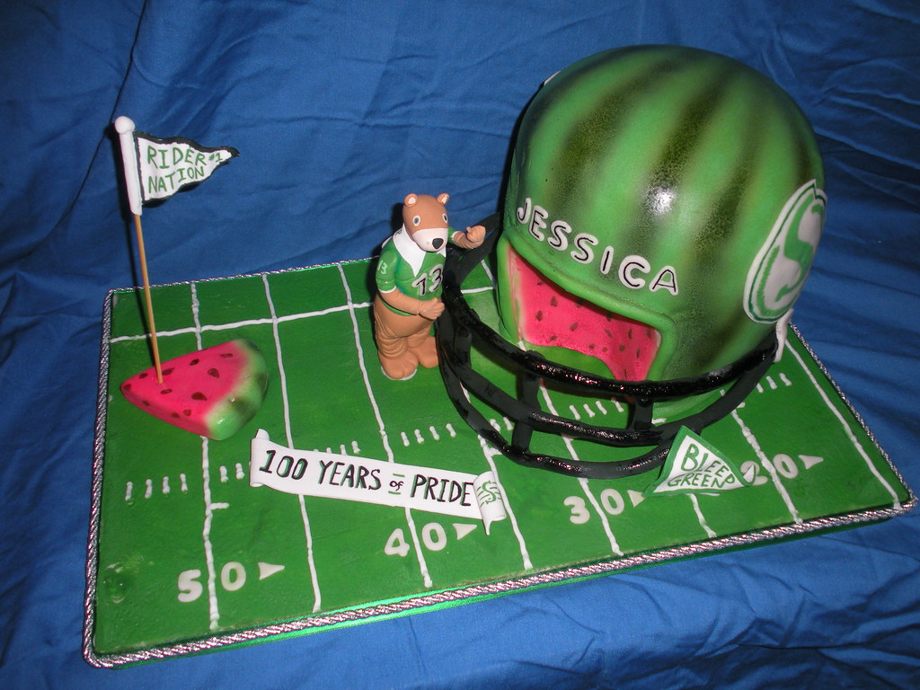 3-D Rough Riders Watermellon head Football Helmet Cake by Wolfbay Cafe