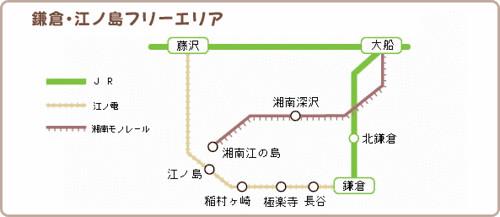 日本。鎌倉二日券免費乘坐區域圖