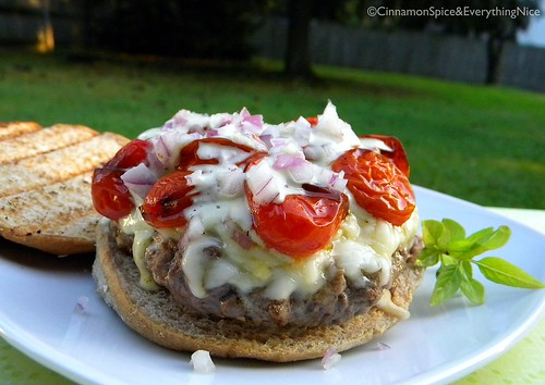 Basil Burgers with Roasted Tomatoes