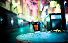 City of Addiction (medically_irrelevant) Tags: city pink cup coffee lights nikon open bokeh f14 wide butts cigarettes oof wideopen 24mmf14 d700 nikonflickraward
